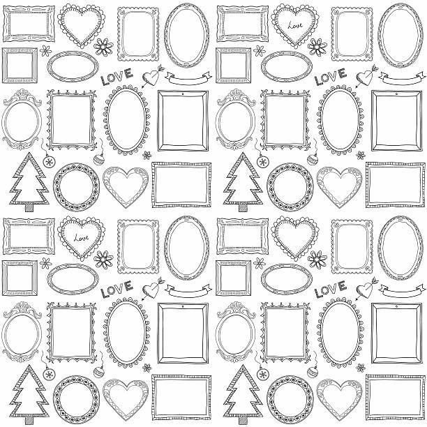 seamless doodle frame set - picture frame borders stock illustrations, clip art, cartoons, & icons