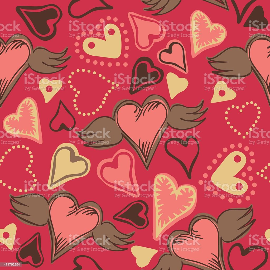 seamless doodle hearts on pink background vector art illustration