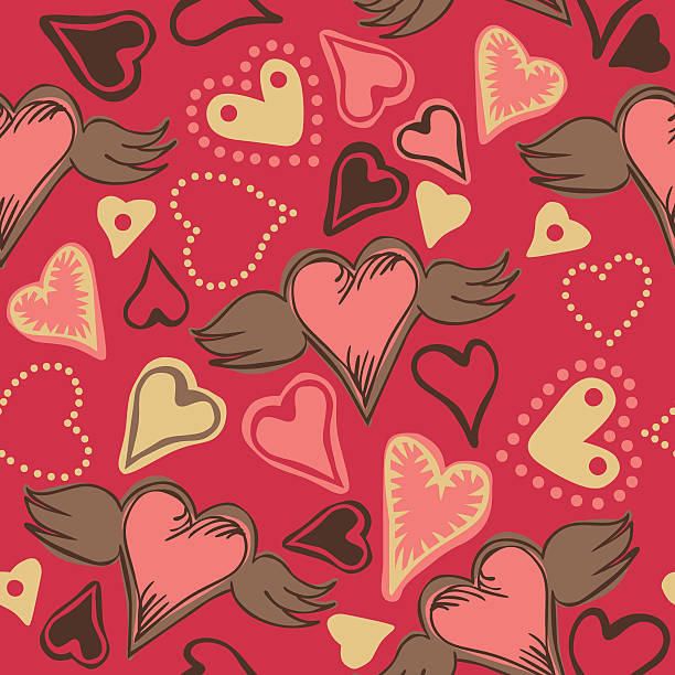 seamless doodle hearts on pink background vector art illustration