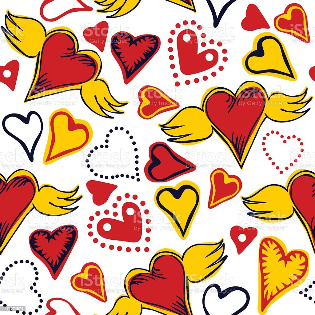 seamless doodle hearts on white background vector art illustration
