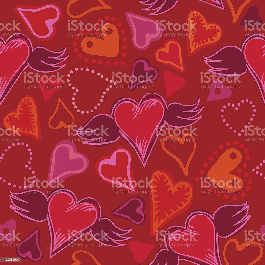seamless doodle hearts vector art illustration