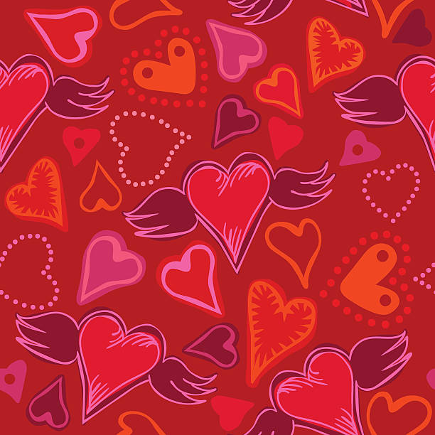 seamless doodle hearts vector art illustration