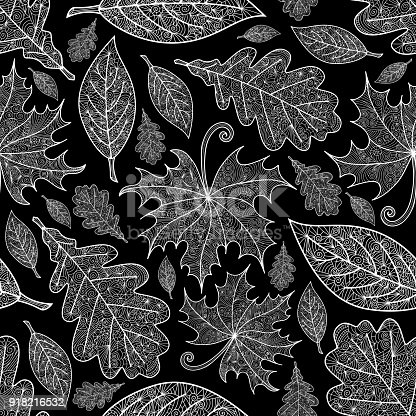 Illustration of seamless pattern with various doodle leaves