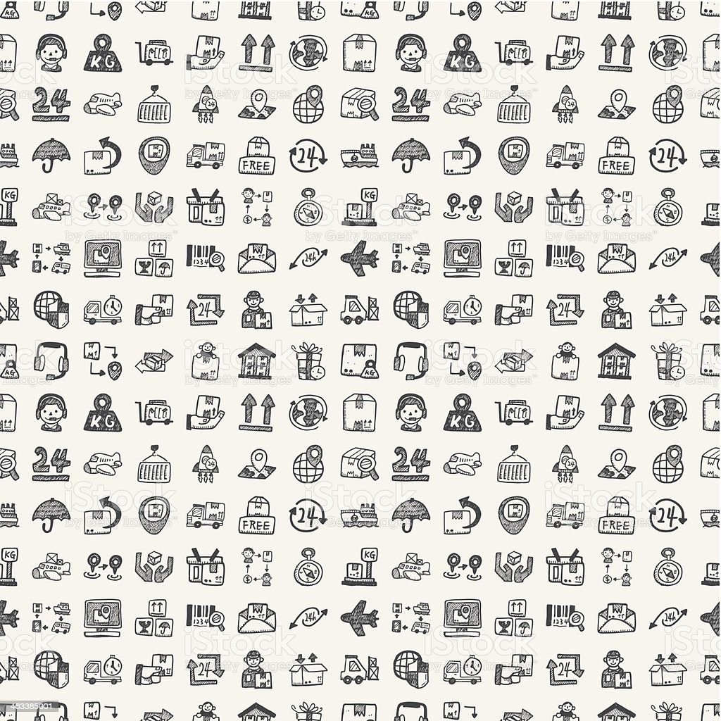 seamless doodle logistics pattern royalty-free stock vector art