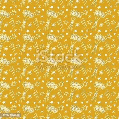 Seamless spring doodle pattern in gold and white color. Vector illustration with daises flower in retro style for decor, textile design, digital scrapbooking, card making, wrapping paper, packaging.