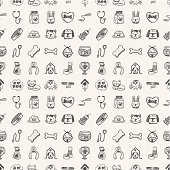 Seamless doodle pattern of pet related icons in black ink
