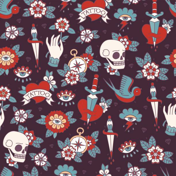 seamless doodle pattern. - diamond tattoos stock illustrations, clip art, cartoons, & icons