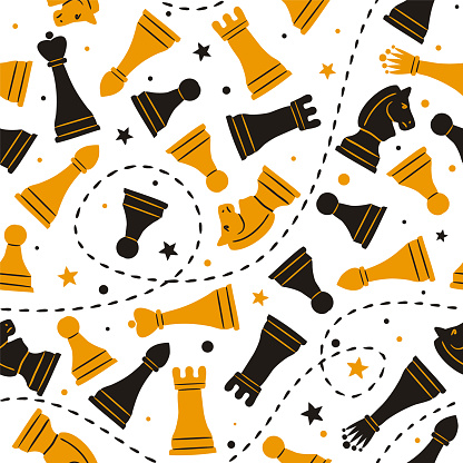 Seamless doodle pattern with chess pieces and stars.