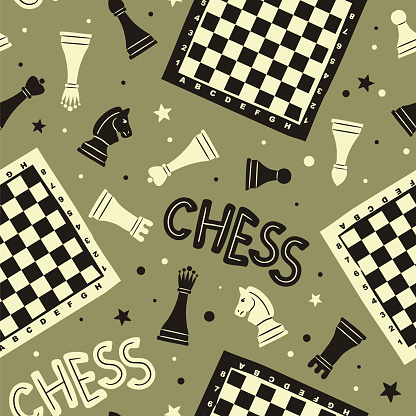 Seamless doodle pattern with chess pieces, checkerboards and stars.