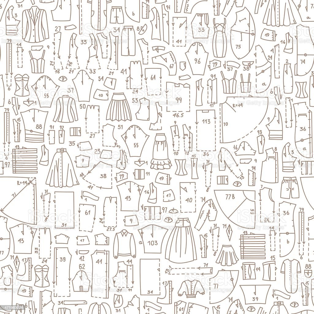 Seamless Doodle Pattern With Clothes And Sewing Patterns Stock ...