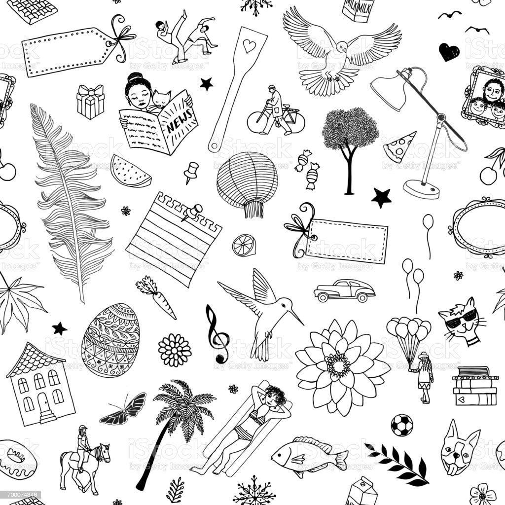 Seamless doodle pattern with various items royalty-free seamless doodle pattern with various items stock vector art & more images of balloon