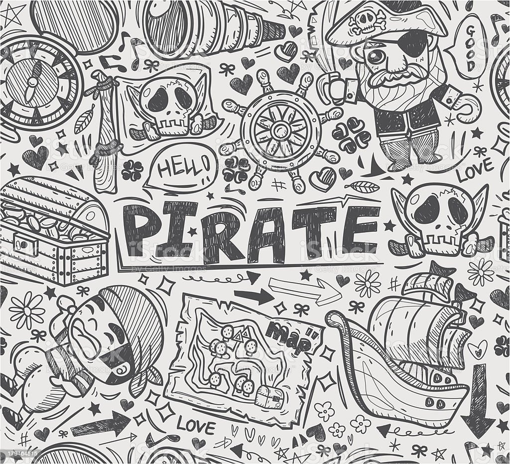 seamless doodle pirate pattern vector art illustration