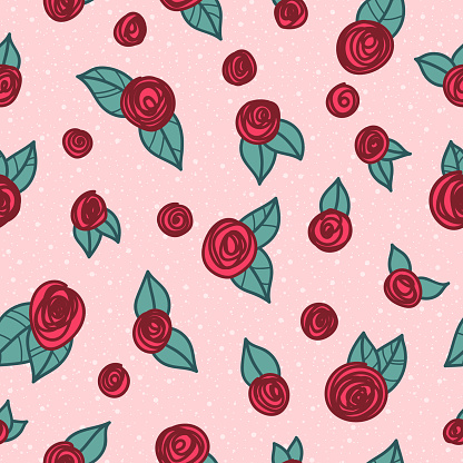 Seamless doodle roses pattern