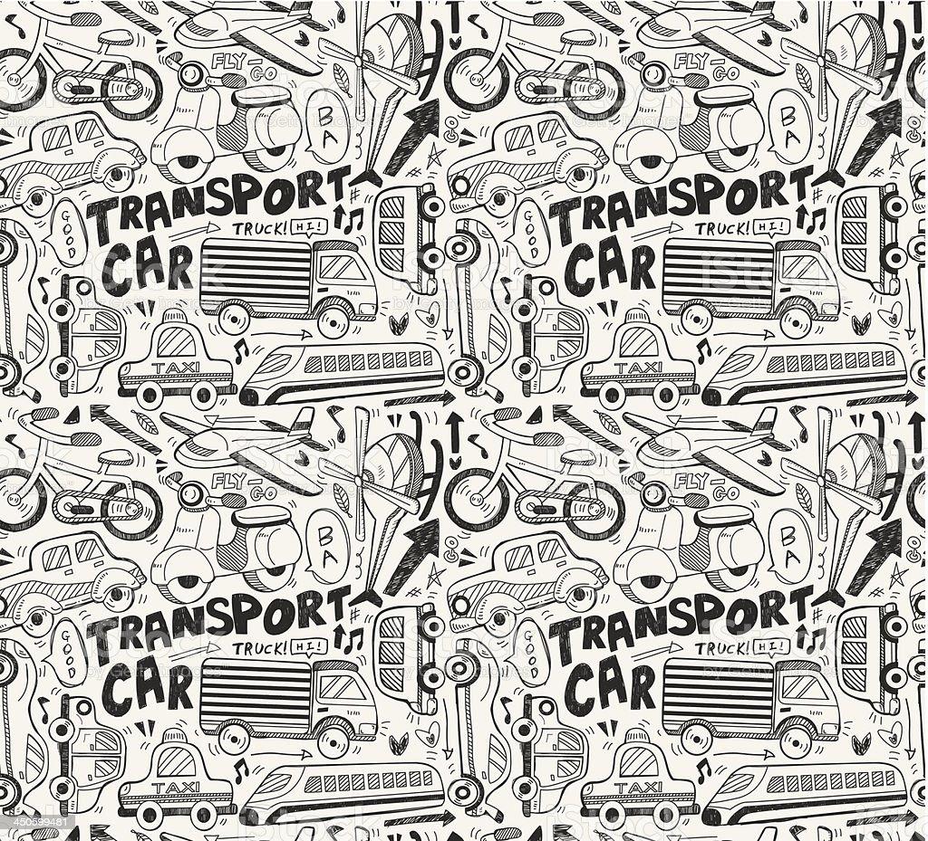 Ilustración de Garabatos Patrón Sin Costuras De Transporte y más ...