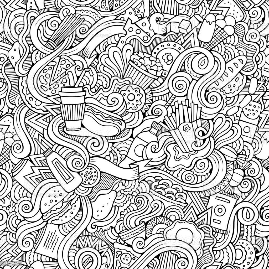 Nahtlose Muster mit Kritzeleien abstrakte fast-food – Vektorgrafik