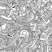 Cartoon vector hand-drawn Doodles on the subject of fast food seamless pattern. Sketchy background