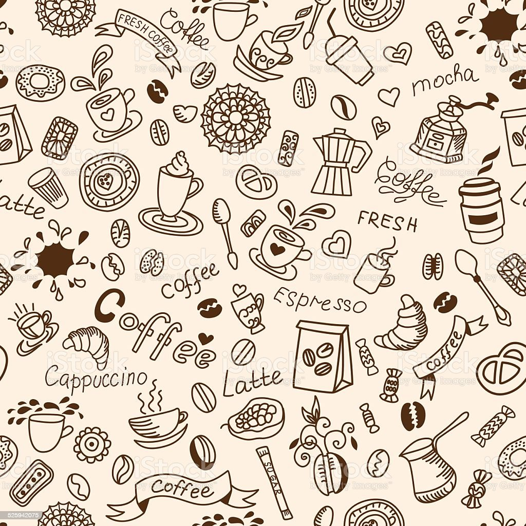 Seamless doodles background with coffee and bakery products. vector art illustration