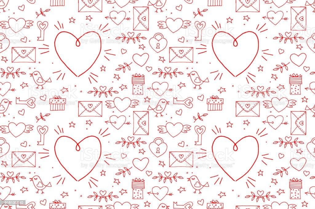 Ilustración de Sin Costura Garabatos Patrón De San Valentín Dibujos ...