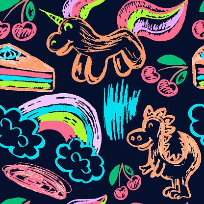 Seamless drawing. Colored wax crayons