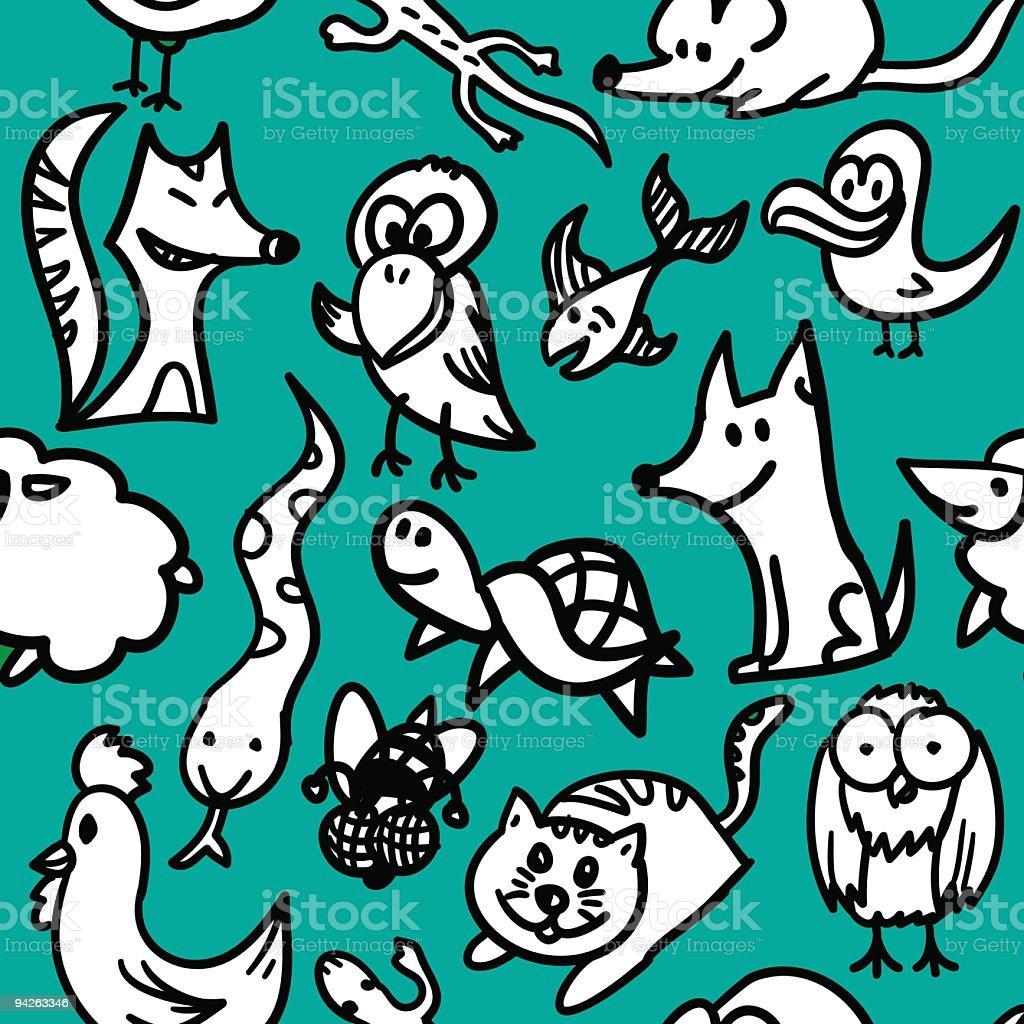 Seamless drawn pattern: animals royalty-free seamless drawn pattern animals stock vector art & more images of animal