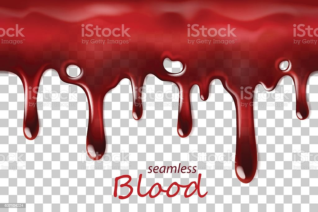 Seamless dripping blood repeatable isolated on transparent – Vektorgrafik