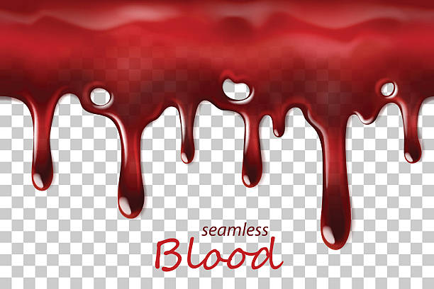 Seamless dripping blood repeatable isolated on transparent vector art illustration