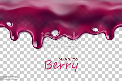 Seamless dripping blueberry repeatable isolated on transparent background, vector art and illustration.