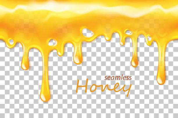 seamless dripping honey repeatable isolated on transparent background - honey drip stock illustrations, clip art, cartoons, & icons
