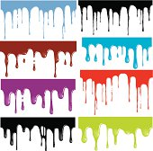 Individually grouped seamless drips illustrating oil, water, blood, paint, ooze, chocolate or any similar liquid material.