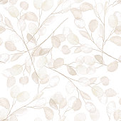 istock Seamless dry lunaria floral vector pattern. Watercolor winter wedding flower illustration background. Boho design printable template, minimal botanical rustic textile decoration 1290093846