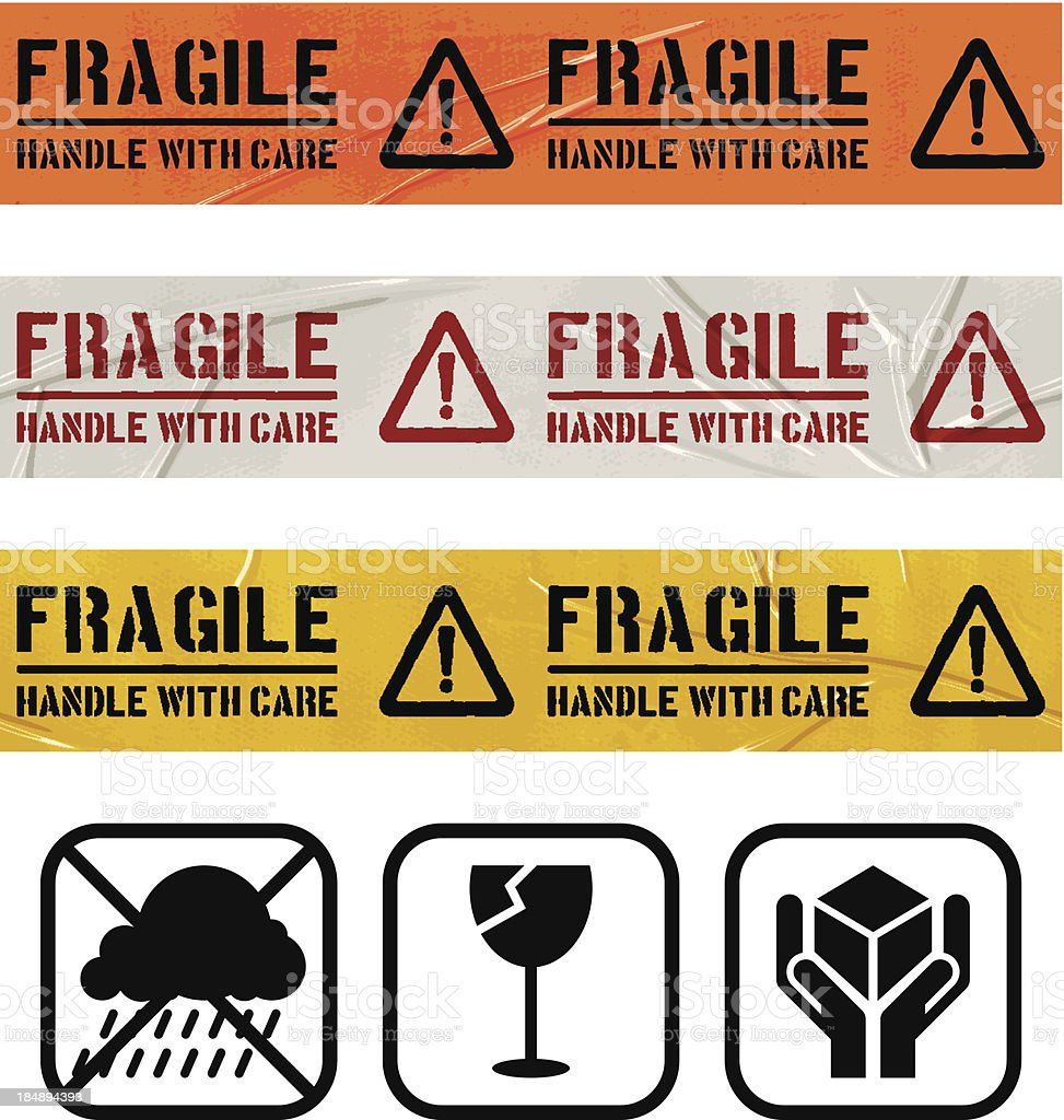 seamless duct tape sets_FRAGILE WARNING SIGN royalty-free stock vector art