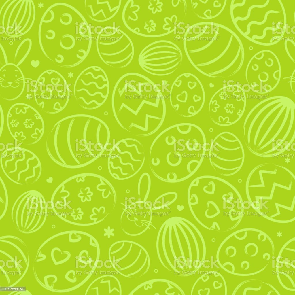 Seamless easter background pattern green with easter eggs royalty-free seamless easter background pattern green with easter eggs stock illustration - download image now
