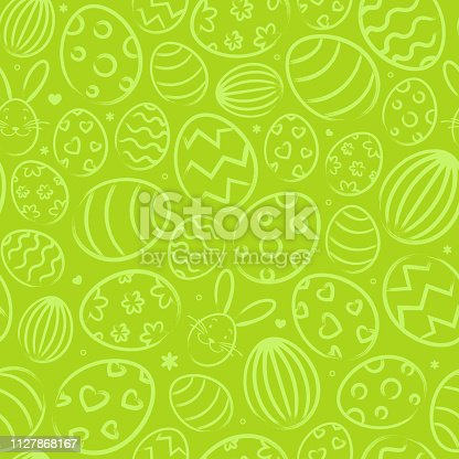 istock Seamless easter background pattern green with easter eggs 1127868167