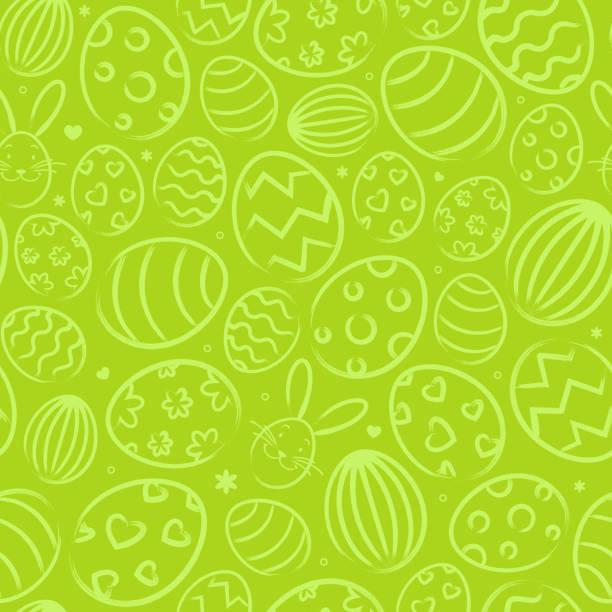 부활절 달걀으로 녹색 원활한 부활절 배경 패턴 - 부활절 달걀 stock illustrations
