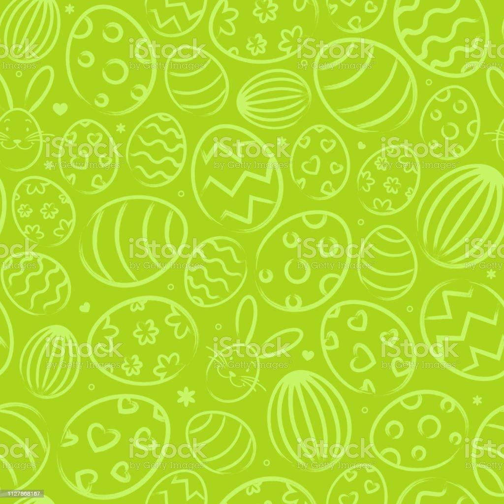 Nahtlose Ostern Hintergrundmuster grün mit Ostereiern – Vektorgrafik