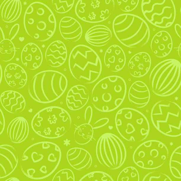 Seamless easter background pattern green with easter eggs - illustrazione arte vettoriale