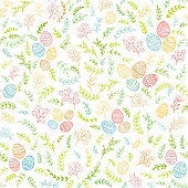 Seamless Easter decorations with colorful floral elements and decorative eggs on white background, illustration.