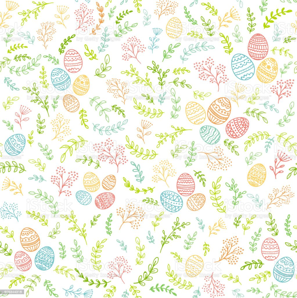 Seamless Easter decorations with colorful eggs and floral elements vector art illustration
