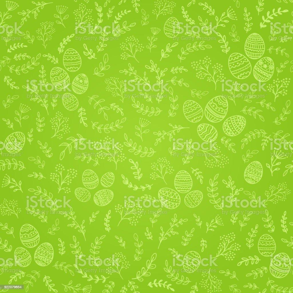 Nahtlose Osterschmuck mit Eiern auf grünem Hintergrund – Vektorgrafik