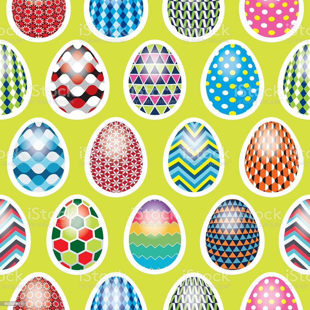 seamless easter egg pattern on a green background stock vector art