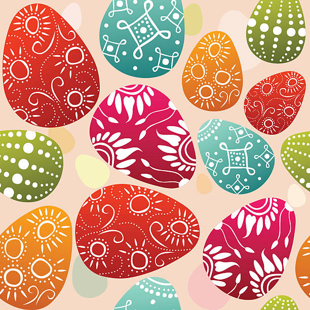 seamless easter eggs vector art illustration