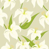 Seamless Easter Lily