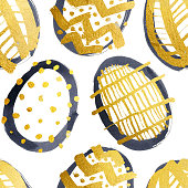 Hand painted round outlined eggs made by black ink and brush with gold filling by acrylic paint. Different types of decorations - lines dots spots zig zags.  Zoom to see beautiful details!  Gold painted egg with beautiful original golden gradient. Photorealistic gold surface with gentle light and unique texture effects.  SEAMLESS PATTERN - duplicate it vertically and horizontally to get unlimited area.  VECTOR FILE - enlarge without lost the quality!  Enjoy creating!