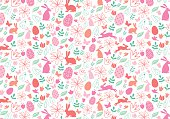 Seamless Easter pattern with bunnies, Easter eggs and spring flowers, vector