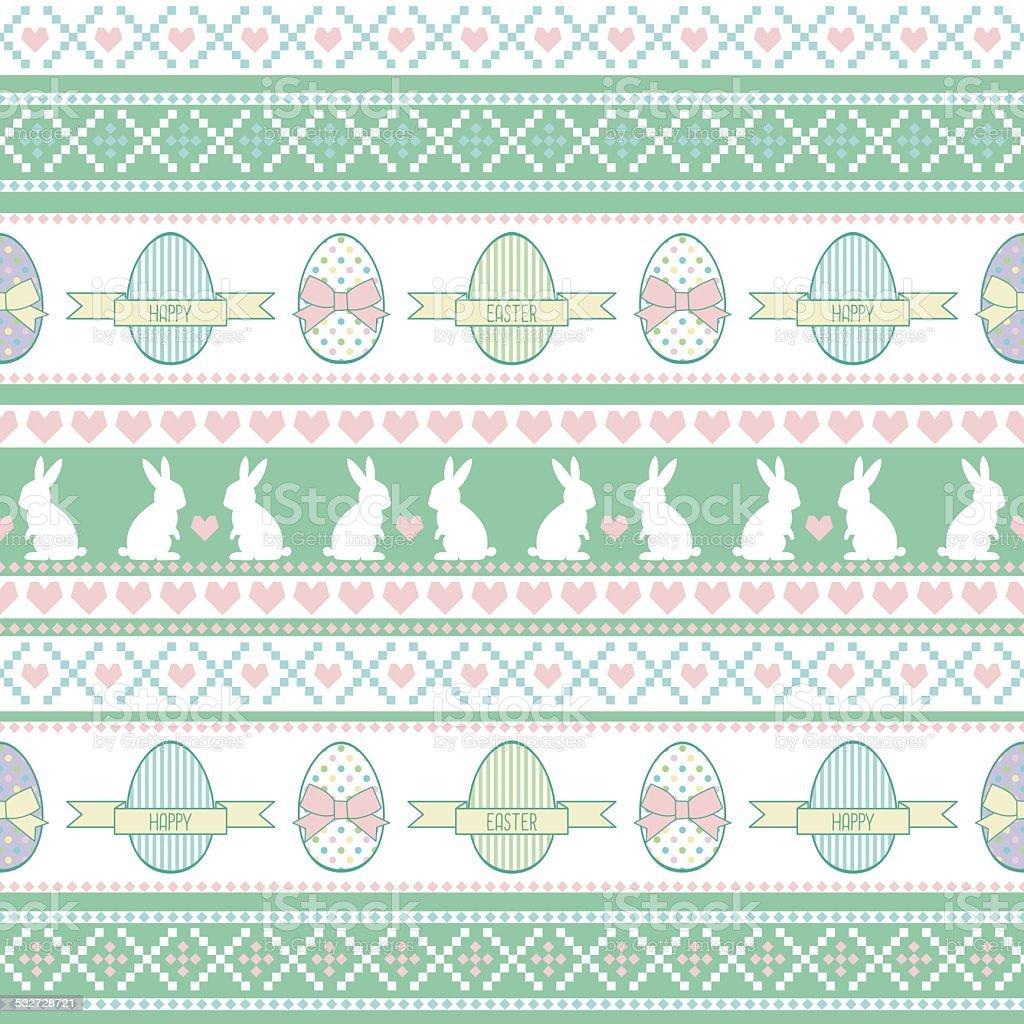 Ilustración de Patrón Sin Costuras De Conejito De Pascua Con Huevos ...