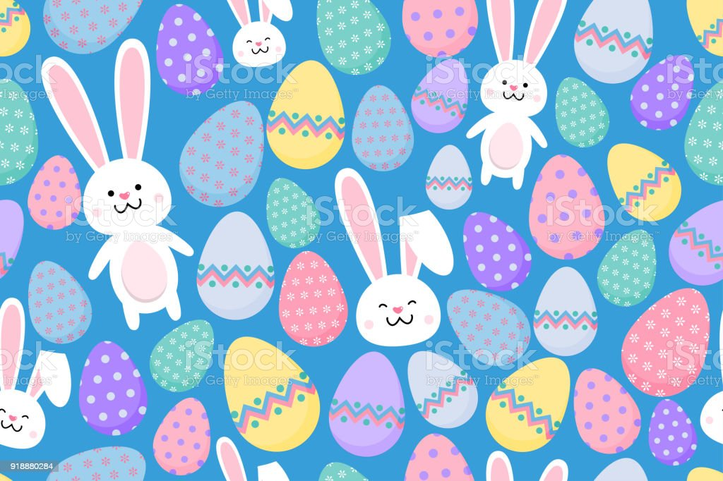 Seamless Easter Pattern With Ornamental Eggs And Happy