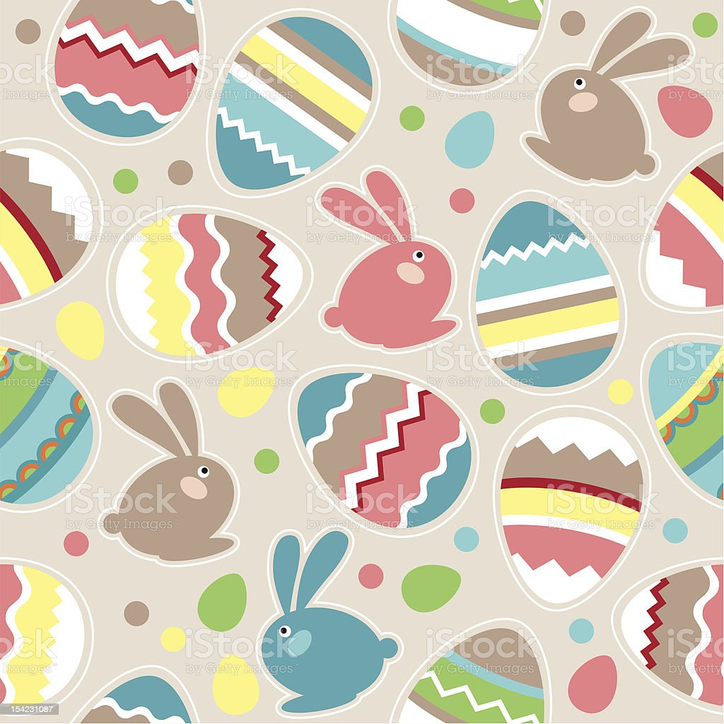 Seamless easter pattern with rabbits Seamless spring pattern with easter eggs and rabbits Animal stock vector