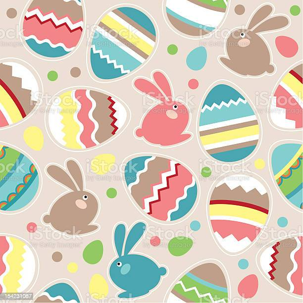 Seamless Easter Pattern With Rabbits Stock Illustration - Download Image Now