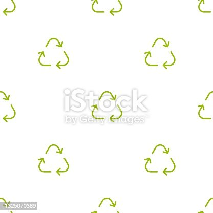 istock Seamless eco pattern. Three arrows eco recycle. reuse ornament on white background. 1325070389