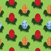 Seamless egg pattern for Easter; Nicely arrange with green background